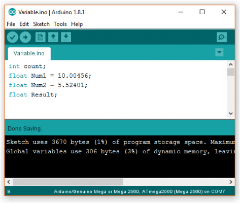evive arduino variables