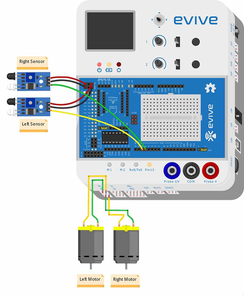 Follow Me Robot Both Senors Circuit Diagram
