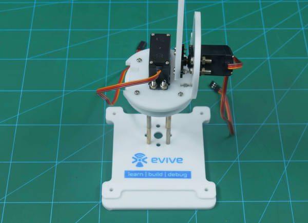 attach the left side servo mounting plate to the base plate